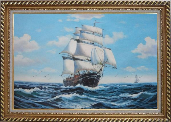 Framed Big Fully Rigged Masted Ship Sailing on the Ocean Oil Painting Boat Classic Exquisite Gold Wood Frame 30 x 42 Inches