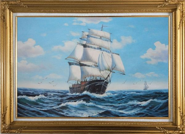 Framed Big Fully Rigged Masted Ship Sailing on the Ocean Oil Painting Boat Classic Gold Wood Frame with Deco Corners 31 x 43 Inches