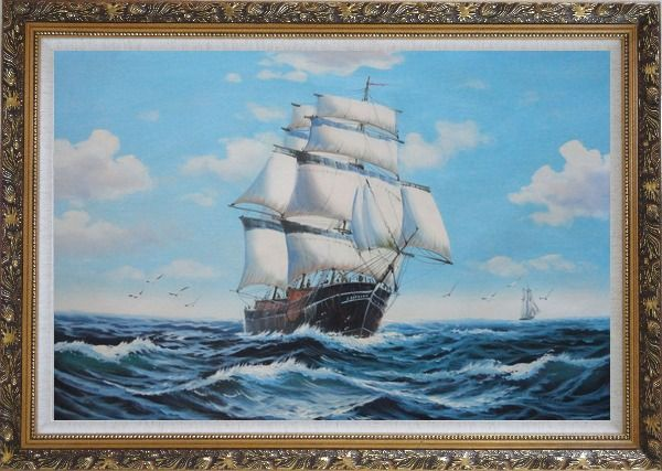 Framed Big Fully Rigged Masted Ship Sailing on the Ocean Oil Painting Boat Classic Ornate Antique Dark Gold Wood Frame 30 x 42 Inches