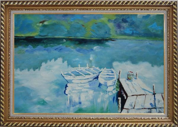 Framed Two Small White Boats on the Deck Oil Painting Impressionism Exquisite Gold Wood Frame 30 x 42 Inches