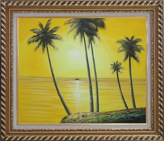 Framed Beachside Palm Trees Under Golden Sunset Oil Painting Seascape America Naturalism Exquisite Gold Wood Frame 26 x 30 Inches