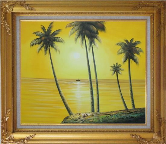 Framed Beachside Palm Trees Under Golden Sunset Oil Painting Seascape America Naturalism Gold Wood Frame with Deco Corners 27 x 31 Inches
