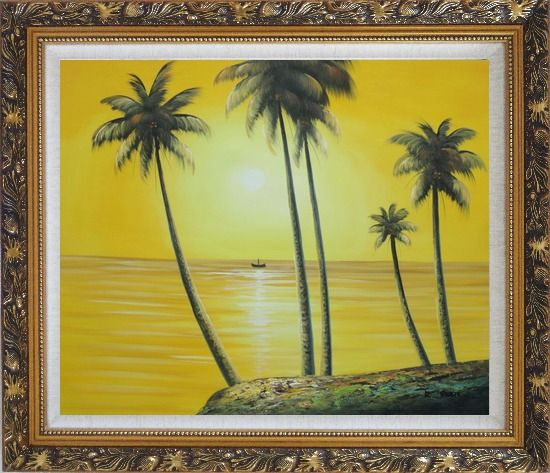 Framed Beachside Palm Trees Under Golden Sunset Oil Painting Seascape America Naturalism Ornate Antique Dark Gold Wood Frame 26 x 30 Inches