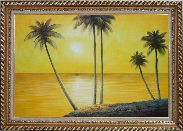 Framed Beachside Palm Trees Under Golden Sunset Oil Painting Seascape America Naturalism Exquisite Gold Wood Frame 30 x 42 Inches