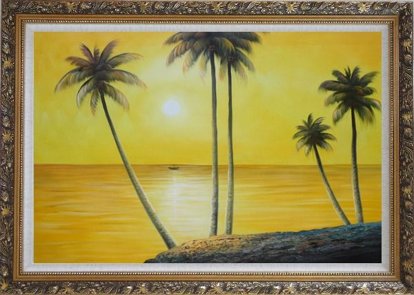 Framed Beachside Palm Trees Under Golden Sunset Oil Painting Seascape America Naturalism Ornate Antique Dark Gold Wood Frame 30 x 42 Inches