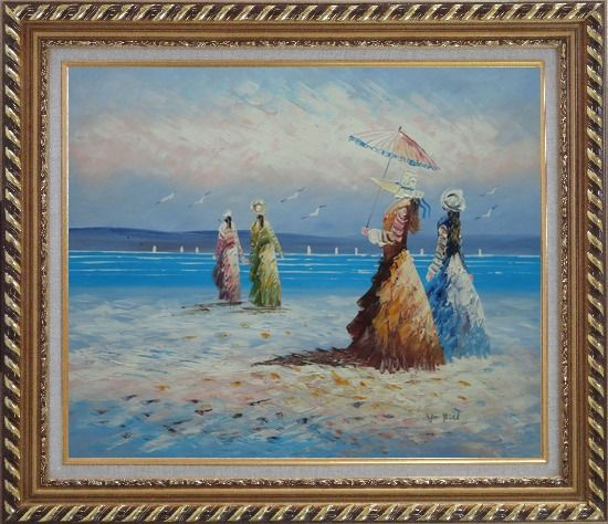 Framed Girls, Seagulls and Beach Oil Painting Portraits Woman Impressionism Exquisite Gold Wood Frame 26 x 30 Inches
