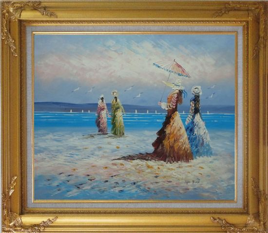 Framed Girls, Seagulls and Beach Oil Painting Portraits Woman Impressionism Gold Wood Frame with Deco Corners 27 x 31 Inches