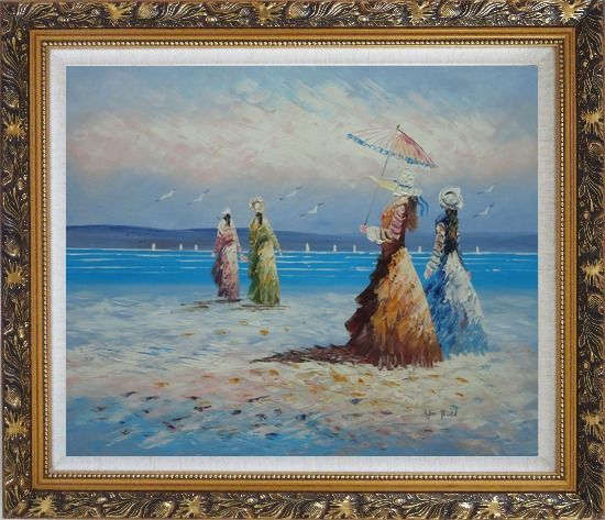 Framed Girls, Seagulls and Beach Oil Painting Portraits Woman Impressionism Ornate Antique Dark Gold Wood Frame 26 x 30 Inches