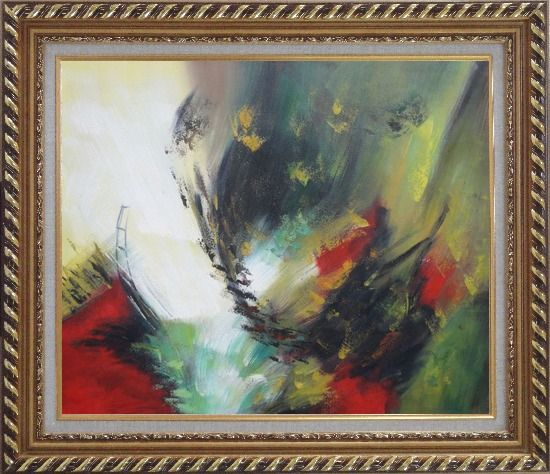 Framed Rapid Rhythm Oil Painting Nonobjective Decorative Exquisite Gold Wood Frame 26 x 30 Inches