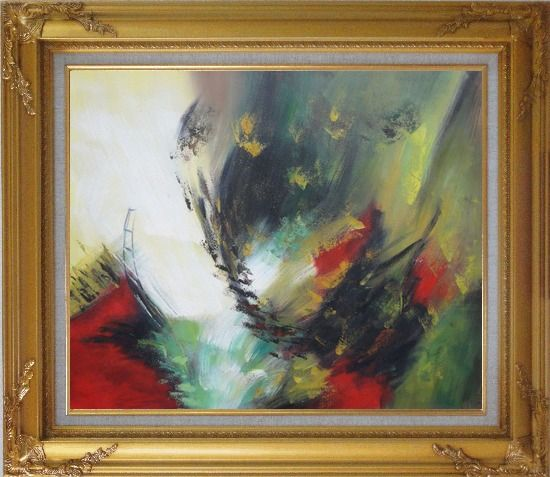 Framed Rapid Rhythm Oil Painting Nonobjective Decorative Gold Wood Frame with Deco Corners 27 x 31 Inches