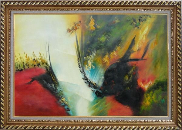 Framed Rapid Rhythm Oil Painting Nonobjective Decorative Exquisite Gold Wood Frame 30 x 42 Inches