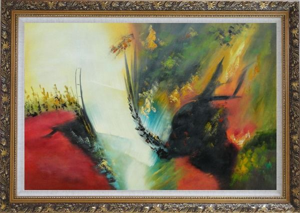 Framed Rapid Rhythm Oil Painting Nonobjective Decorative Ornate Antique Dark Gold Wood Frame 30 x 42 Inches
