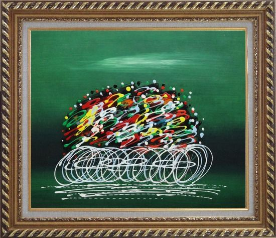 Framed Abstract Cyclic Race Oil Painting Portraits Cycling Modern Exquisite Gold Wood Frame 26 x 30 Inches
