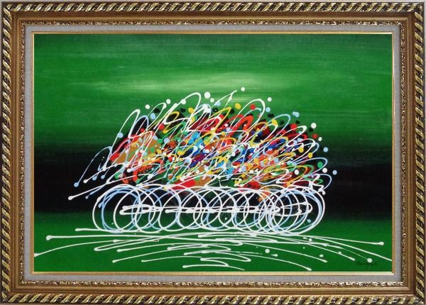 Framed Cycling Race in Green Background Oil Painting Portraits Modern Exquisite Gold Wood Frame 30 x 42 Inches
