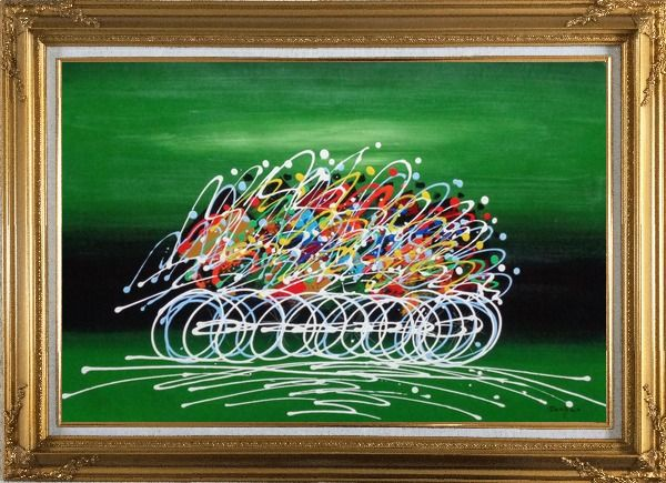 Framed Cycling Race in Green Background Oil Painting Portraits Modern Gold Wood Frame with Deco Corners 31 x 43 Inches
