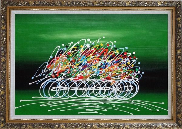 Framed Cycling Race in Green Background Oil Painting Portraits Modern Ornate Antique Dark Gold Wood Frame 30 x 42 Inches