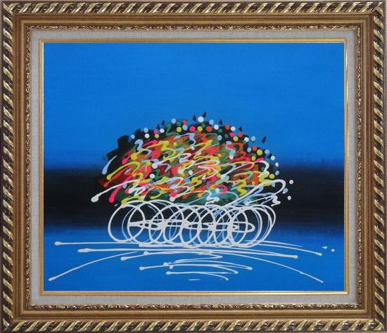 Framed Cyclic Racing Oil Painting Portraits Cycling Modern Exquisite Gold Wood Frame 26 x 30 Inches