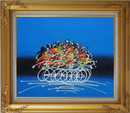 Framed Cyclic Racing Oil Painting Portraits Cycling Modern Gold Wood Frame with Deco Corners 27 x 31 Inches