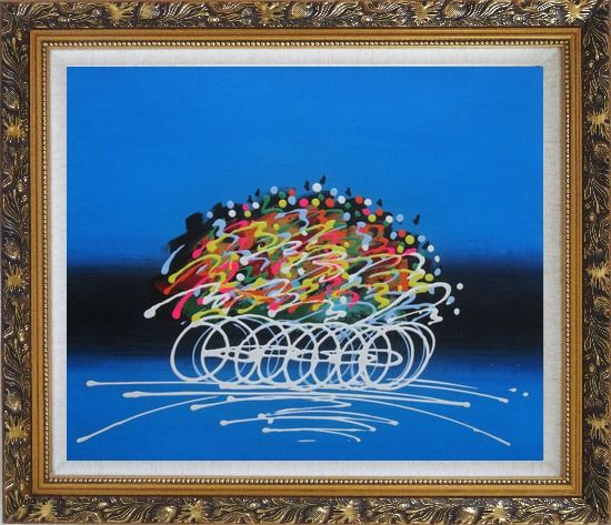 Framed Cyclic Racing Oil Painting Portraits Cycling Modern Ornate Antique Dark Gold Wood Frame 26 x 30 Inches