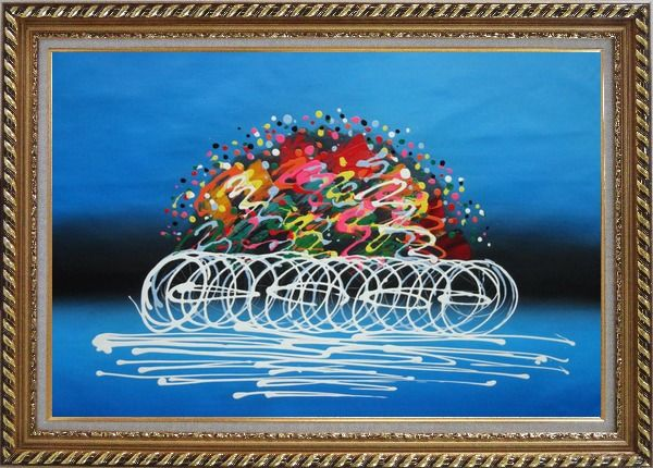 Framed Cyclic Racing Oil Painting Portraits Cycling Modern Exquisite Gold Wood Frame 30 x 42 Inches