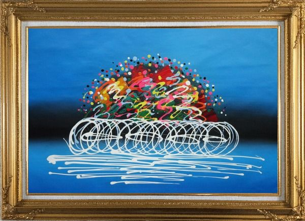 Framed Cyclic Racing Oil Painting Portraits Cycling Modern Gold Wood Frame with Deco Corners 31 x 43 Inches