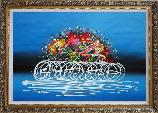 Framed Cyclic Racing Oil Painting Portraits Cycling Modern Ornate Antique Dark Gold Wood Frame 30 x 42 Inches