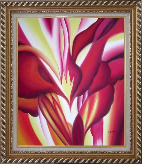 Framed Spark, Abstract Floral Oil Painting Flower Modern Exquisite Gold Wood Frame 30 x 26 Inches