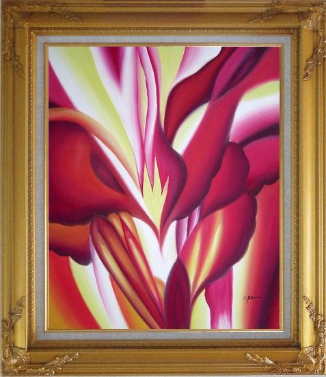 Framed Spark, Abstract Floral Oil Painting Flower Modern Gold Wood Frame with Deco Corners 31 x 27 Inches