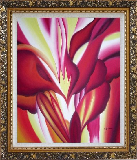Framed Spark, Abstract Floral Oil Painting Flower Modern Ornate Antique Dark Gold Wood Frame 30 x 26 Inches
