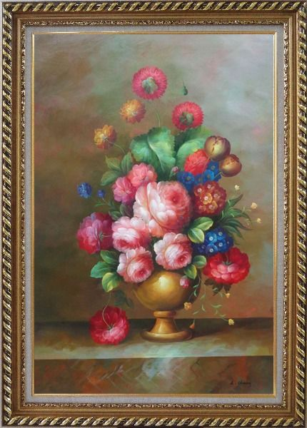 Framed Blooming Colorful Flowers in a Vase Oil Painting Still Life Bouquet Classic Exquisite Gold Wood Frame 42 x 30 Inches