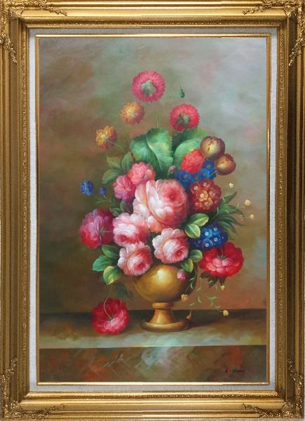 Framed Blooming Colorful Flowers in a Vase Oil Painting Still Life Bouquet Classic Gold Wood Frame with Deco Corners 43 x 31 Inches