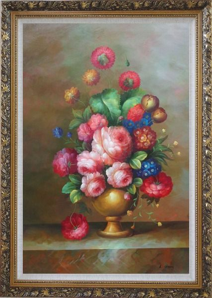 Framed Blooming Colorful Flowers in a Vase Oil Painting Still Life Bouquet Classic Ornate Antique Dark Gold Wood Frame 42 x 30 Inches