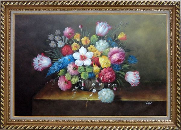Framed Still Life of Flowers Oil Painting Bouquet Classic Exquisite Gold Wood Frame 30 x 42 Inches