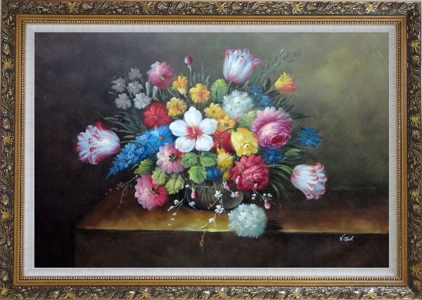 Framed Still Life of Flowers Oil Painting Bouquet Classic Ornate Antique Dark Gold Wood Frame 30 x 42 Inches
