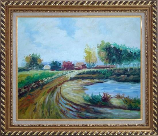 Framed Path to the Village Oil Painting Landscape Impressionism Exquisite Gold Wood Frame 26 x 30 Inches