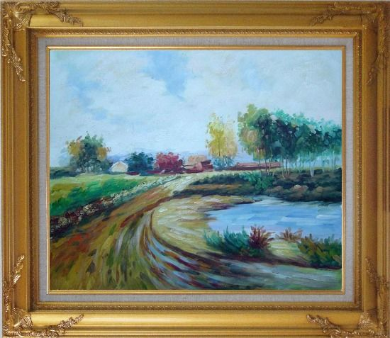 Framed Path to the Village Oil Painting Landscape Impressionism Gold Wood Frame with Deco Corners 27 x 31 Inches