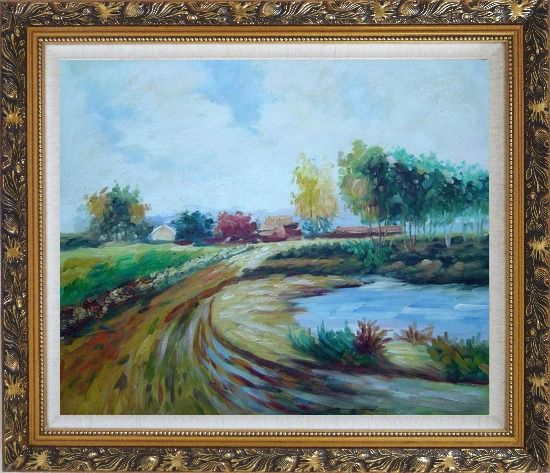 Framed Path to the Village Oil Painting Landscape Impressionism Ornate Antique Dark Gold Wood Frame 26 x 30 Inches