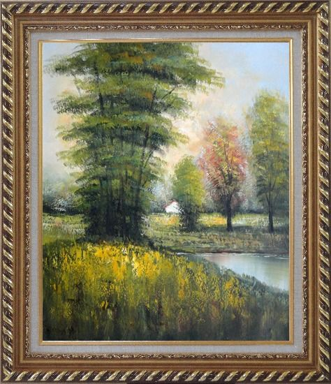 Framed Small Pond Surround By Green Trees Oil Painting Landscape Impressionism Exquisite Gold Wood Frame 30 x 26 Inches