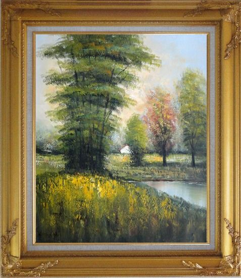 Framed Small Pond Surround By Green Trees Oil Painting Landscape Impressionism Gold Wood Frame with Deco Corners 31 x 27 Inches
