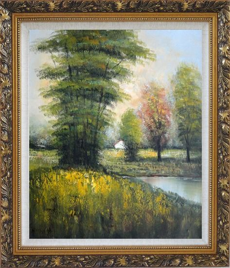 Framed Small Pond Surround By Green Trees Oil Painting Landscape Impressionism Ornate Antique Dark Gold Wood Frame 30 x 26 Inches