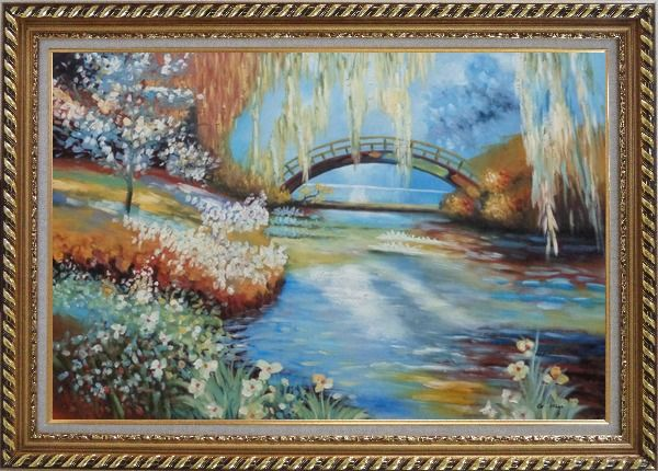 Framed Flowers around River Bridge Oil Painting Landscape Impressionism Exquisite Gold Wood Frame 30 x 42 Inches
