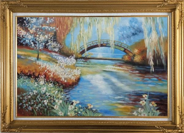 Framed Flowers around River Bridge Oil Painting Landscape Impressionism Gold Wood Frame with Deco Corners 31 x 43 Inches