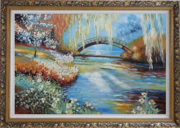 Framed Flowers around River Bridge Oil Painting Landscape Impressionism Ornate Antique Dark Gold Wood Frame 30 x 42 Inches