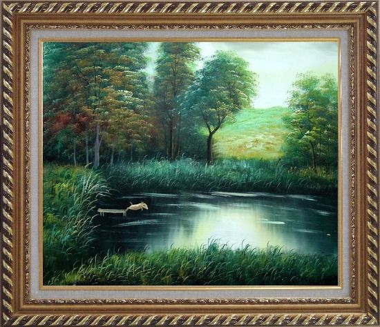 Framed Jumping Wild Pig Oil Painting Landscape River Classic Exquisite Gold Wood Frame 26 x 30 Inches
