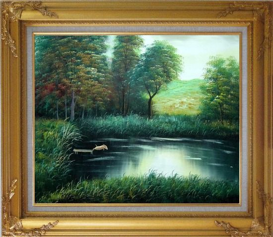 Framed Jumping Wild Pig Oil Painting Landscape River Classic Gold Wood Frame with Deco Corners 27 x 31 Inches
