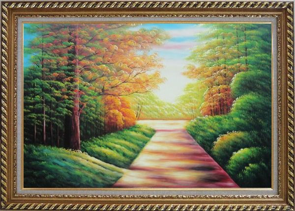 Framed Secret Garden Path Oil Painting Landscape Tree Autumn Naturalism Exquisite Gold Wood Frame 30 x 42 Inches