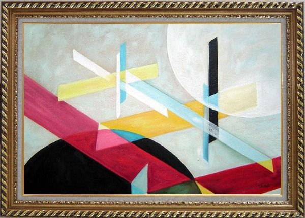 Framed Suprematist Composition Oil Painting Nonobjective Modern Exquisite Gold Wood Frame 30 x 42 Inches