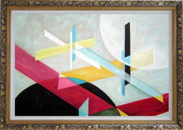 Framed Suprematist Composition Oil Painting Nonobjective Modern Ornate Antique Dark Gold Wood Frame 30 x 42 Inches