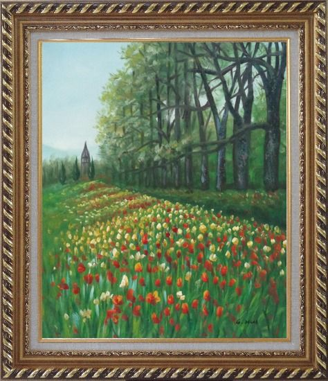Framed Gorgeous Colorful Flowery Fields in Spring Oil Painting Landscape Tulip Impressionism Exquisite Gold Wood Frame 30 x 26 Inches