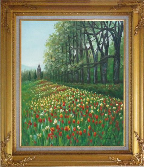 Framed Gorgeous Colorful Flowery Fields in Spring Oil Painting Landscape Tulip Impressionism Gold Wood Frame with Deco Corners 31 x 27 Inches